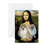 Mona/2 Pomeranians Greeting Cards (Pk of 10)