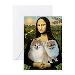 Mona/2 Pomeranians Greeting Card