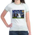Starry/Pomeranian(r&w) Jr. Ringer T-Shirt