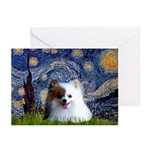 Starry/Pomeranian(r&w) Greeting Cards (Pk of 10)