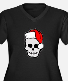 Christmas Santa Skull Women's Plus Size V-Neck Dar
