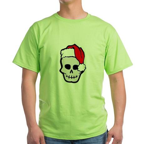 Christmas Santa Skull Green T-Shirt