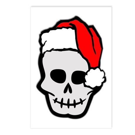 Christmas Santa Skull Postcards (Package of 8)