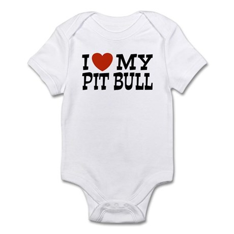 I Love My Pit bull Infant Bodysuit