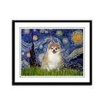 Starry / Pomeranian Framed Panel Print