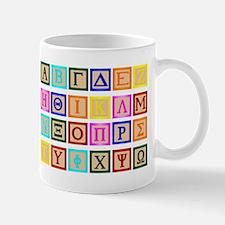 Block Letter In Greek Mugs