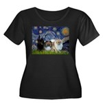 Starry/3 Pomeranians Women's Plus Size Scoop Neck