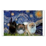 Starry/3 Pomeranians Sticker (Rectangle)