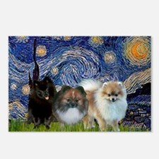 Starry/3 Pomeranians Postcards (Package of 8)