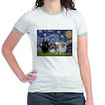 Starry/3 Pomeranians Jr. Ringer T-Shirt