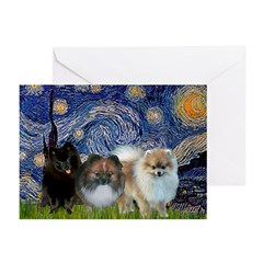 Starry/3 Pomeranians Greeting Cards (Pk of 10)