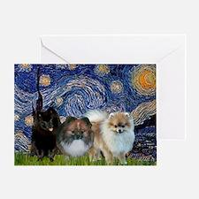 Starry/3 Pomeranians Greeting Card
