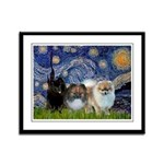 Starry/3 Pomeranians Framed Panel Print