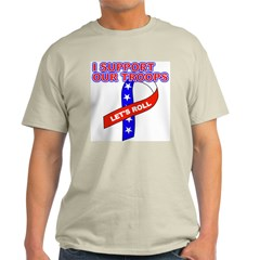 Support the Troops Ribbon Ash Grey T-Shirt