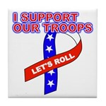 Support the Troops Ribbon Tile Coaster