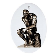Rodin Thinker Christmas Tree Oval Ornament