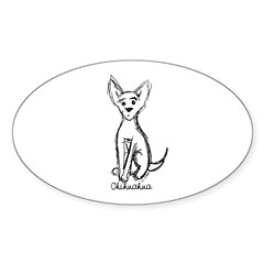 Chihuahua Sketch Oval Decal