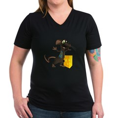 Rattachewie Women's V-Neck Dark T-Shirt