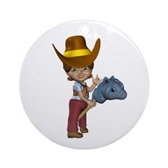 Cowgirl Kit Ornament (Round)