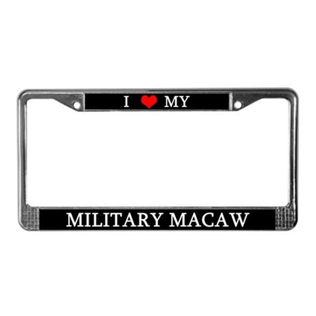 Love Military Macaw License Plate Frame