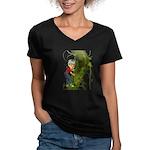 Jack 'N The Beanstalk Women's V-Neck Dark T-Shirt