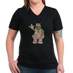 Heather Hippo Women's V-Neck Dark T-Shirt