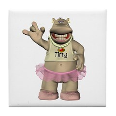 Heather Hippo Tile Coaster