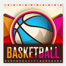 "Basketball Sport Ball Ga Square Car Magnet 3"" x 3"""