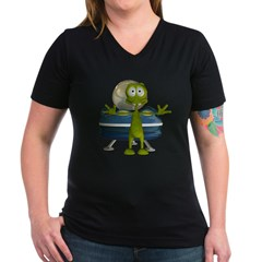 Al Alien Women's V-Neck Dark T-Shirt