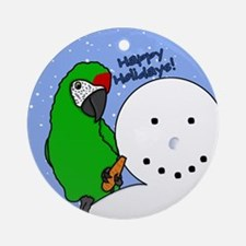 Snowman Miltiary Macaw Christmas Ornament