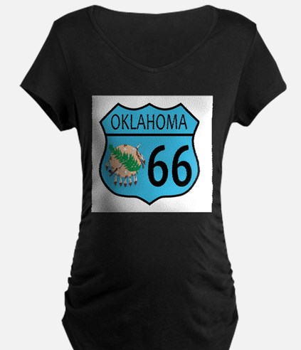 Route 66 Oklahoma sign and Flag Maternity T-Shirt