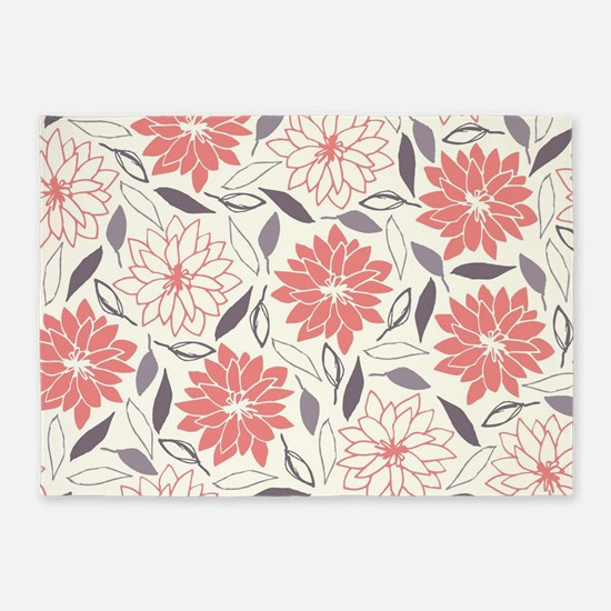 Coral and Gray Floral Pattern 5'x7'Area Rug