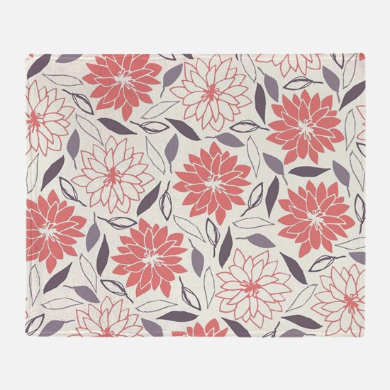 Coral and Gray Floral Pattern Throw Blanket