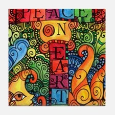 Peace on Earth Sun and Moon Tile Coaster