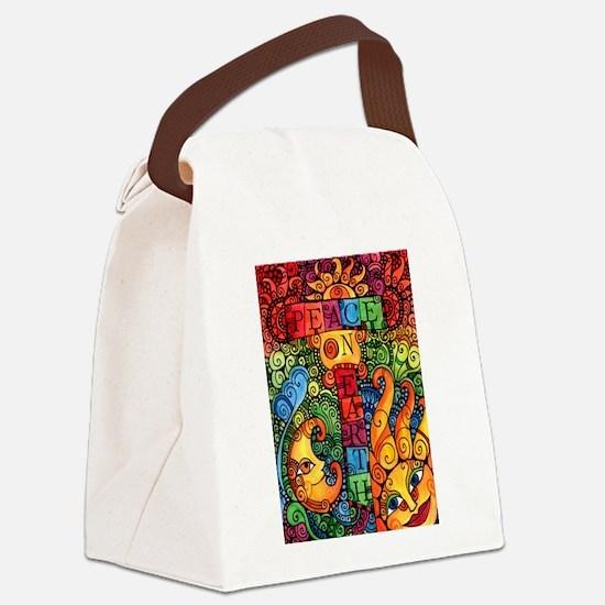 Peace on Earth Sun and Moon Canvas Lunch Bag