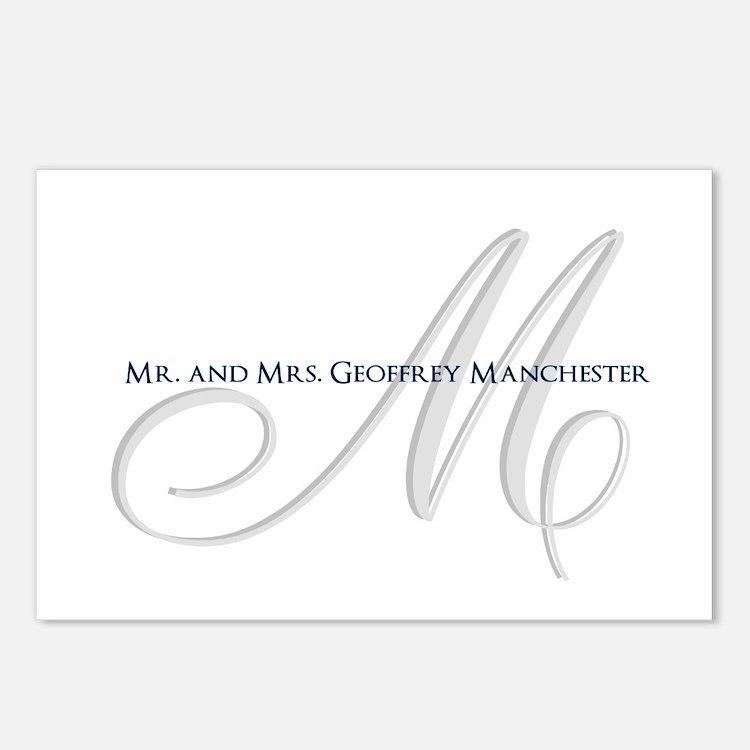 Elegant Name and Monogram Postcards (Package of 8)