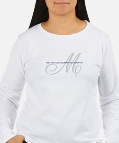 Elegant Name and Monogram Long Sleeve T-Shirt