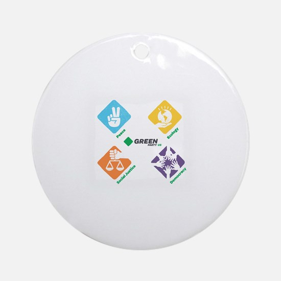 Cute Green party Round Ornament