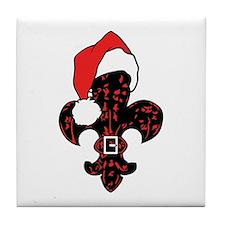 Santa Fleur de lis (red) Tile Coaster