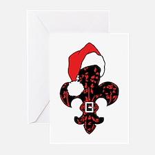Santa Fleur de lis (red) Greeting Cards (Pk of 20)