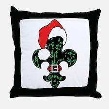 Santa Fleur de lis (green) Throw Pillow