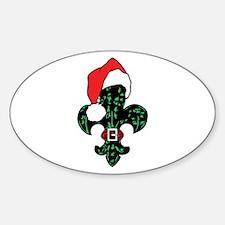 Santa Fleur de lis (green) Oval Decal