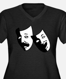 Drama Masks Women's Plus Size V-Neck Dark T-Shirt