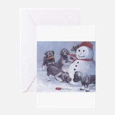 Standard Schnauzer Puppies with a Snowman Greeting