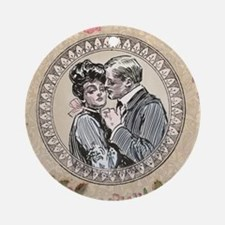 Gibson Girl Couple in Love Vintage Victorian Round