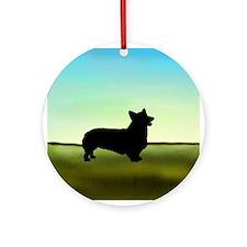 corgi in a field Ornament (Round)