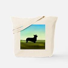 corgi in a field Tote Bag