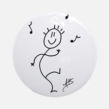 Dancing Smiley Man Ornament (Round)