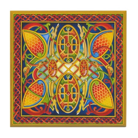 Celtic Peacocks Tile Coaster