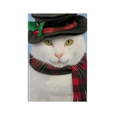 Snow-cat Holiday Magnet